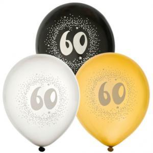 Ballonger 6-pack 60år 2x silver2x guld2x svart