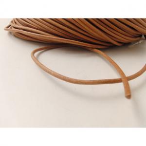 Läderband rund 3mm Ljusbrun