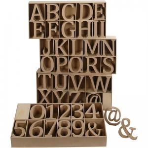 Bokstäver Siffror Trä H8cm