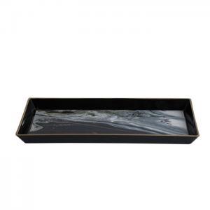 Bricka plast svart marmor utseende 27x12