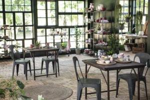 Cafébord trä/metall D90x90xH75cm