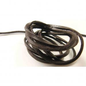 Läderband platt Mörkbrun 3mm
