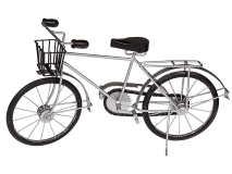 Cykel med korg trä metall silver/svart