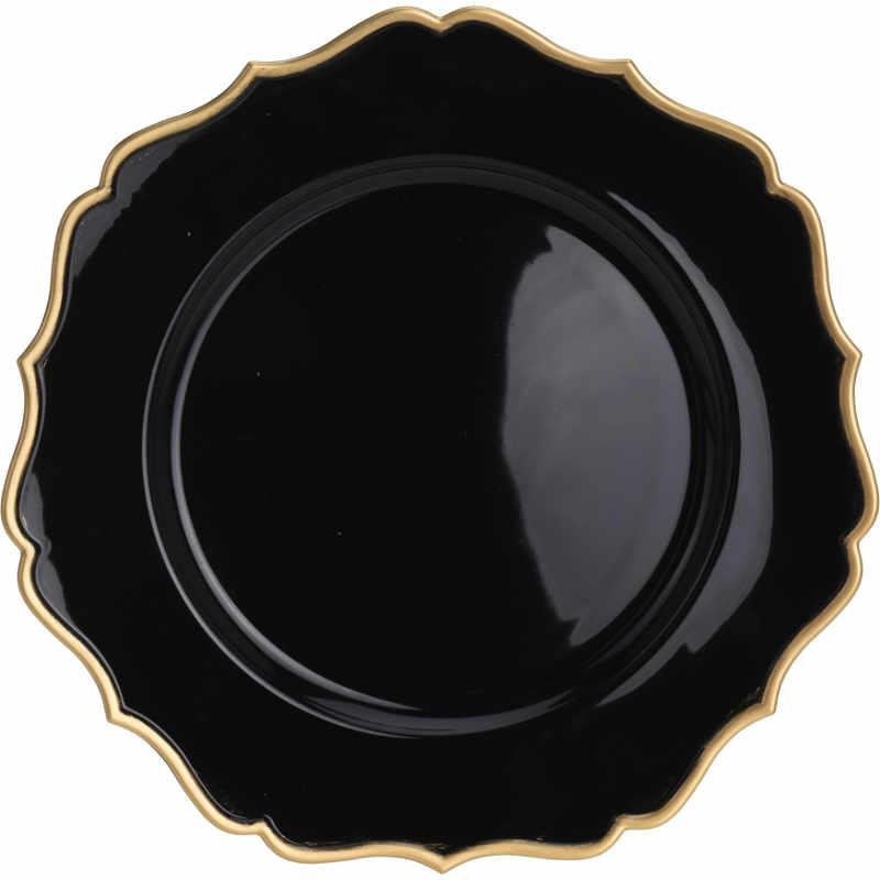 Fat plast svart med guldkant