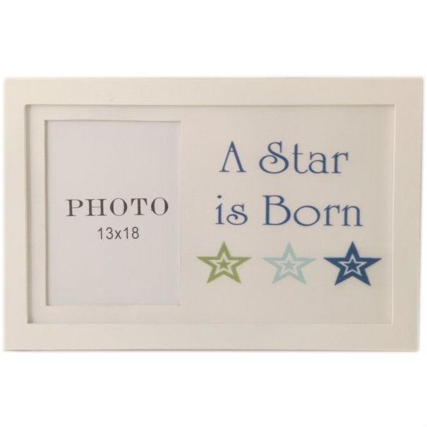 Fotoram vit med text A Star.. Blå