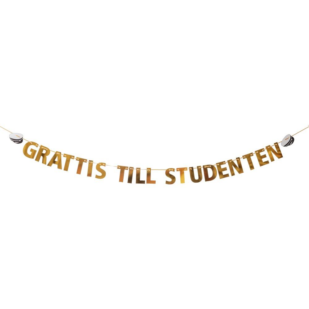 Girlang Guld med text Grattis till student 3,6m