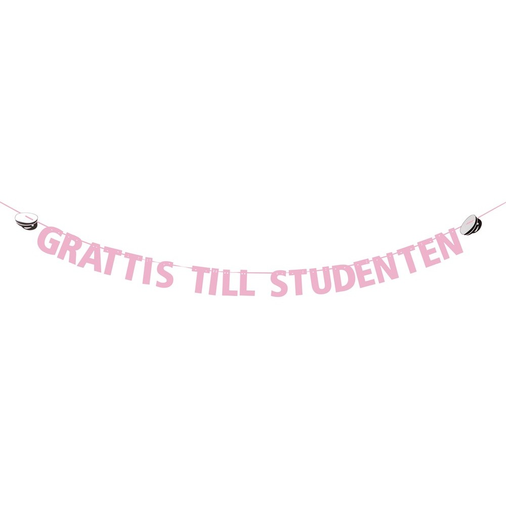 Girlang Rosa med text Grattis till student 3,6m