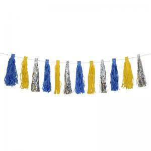Girlang tofsar gul blå och silver