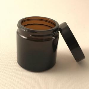 Glasburk liten brun med svart lock 30ml