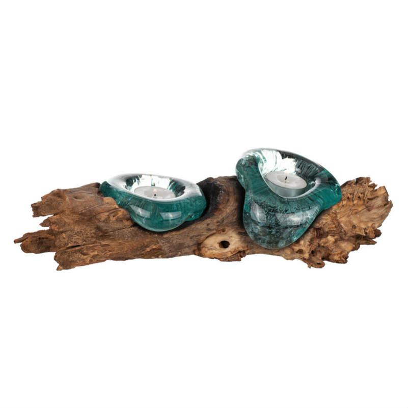 Glaslykta på trädrot 2glas 30-35cm