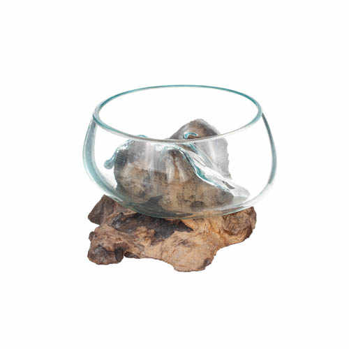 Glasskål på trädrot 25cm