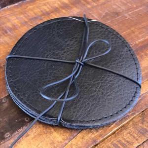 Glasunderlägg läderlook 4pack svart