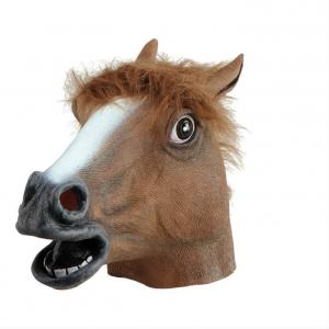 Gummimask Häst huvud Brun