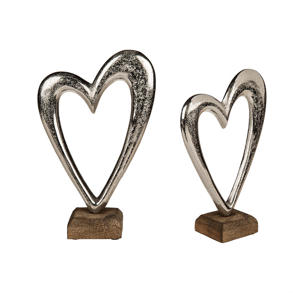 Hjärta silver metall 22cm