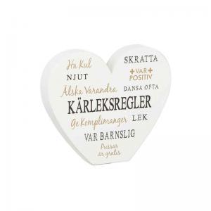 Hjärta stående Kärleksregler 15cm