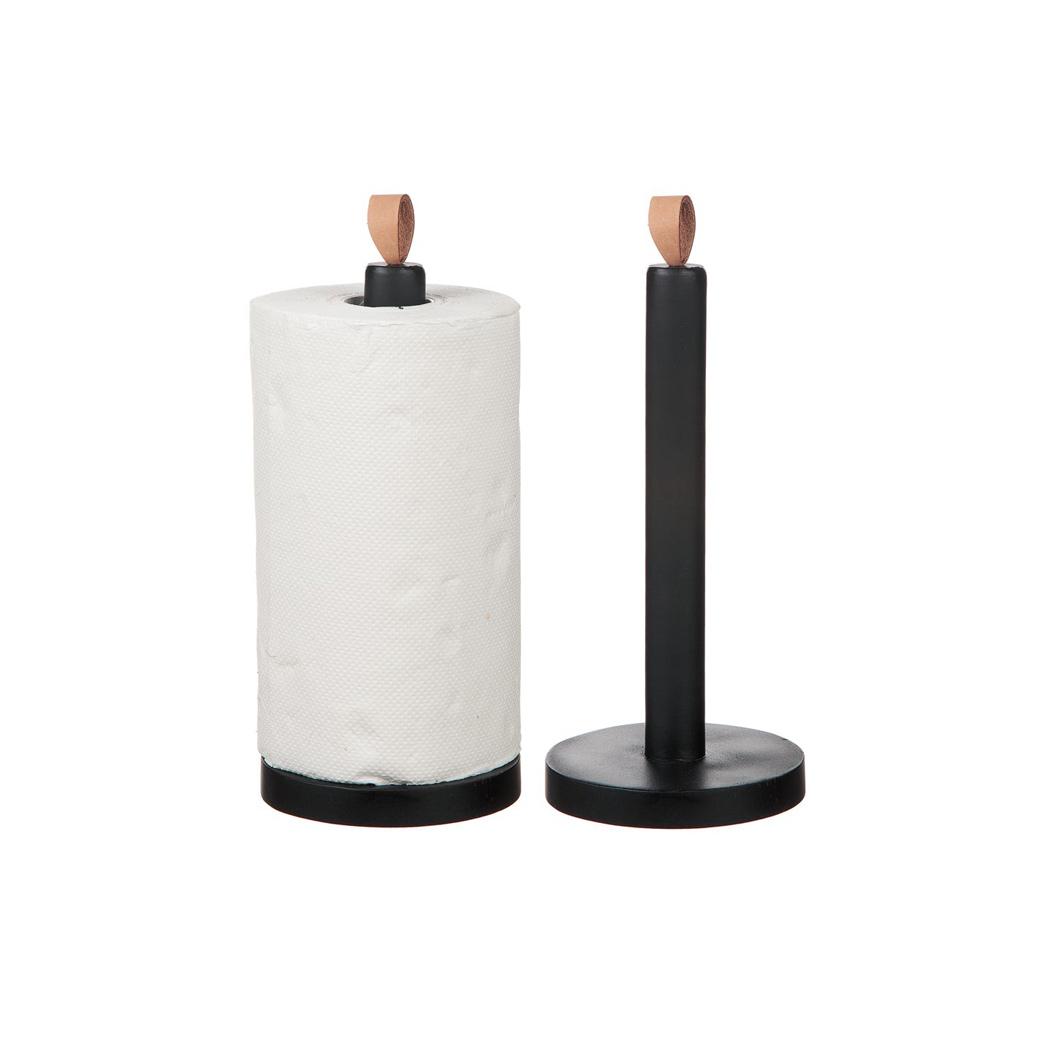 Hushållspapperhållare svart trä H30cm