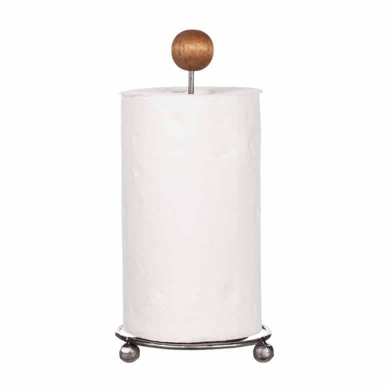 Hushållsp.hållare stål / trä 35cm