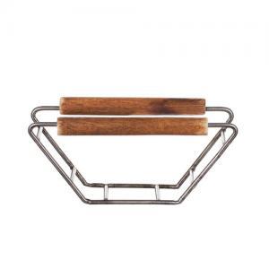 Kaffefilterhållare rå metall och trä