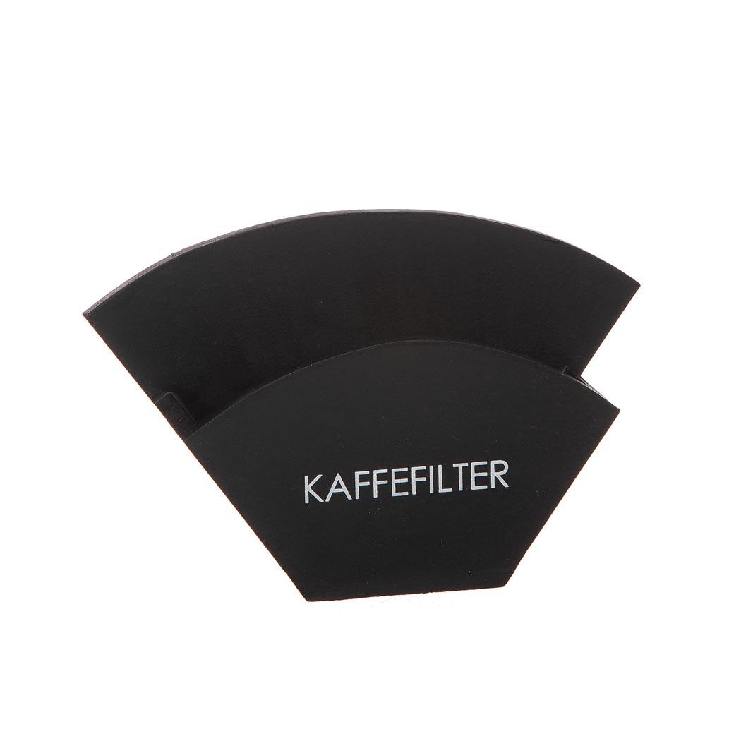 Kaffefilterhållare svart trä med text