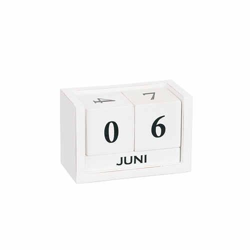 Kalender trä vit 8x12cm
