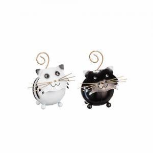 Katt hamrad plåt rund vit/svart 12/14/16cm