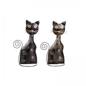 Katt i hamrad plåt svart mix H25cm