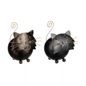 Katt rund i smide 16cm