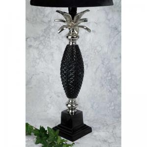 Lampfot ananas silver svart H44cm