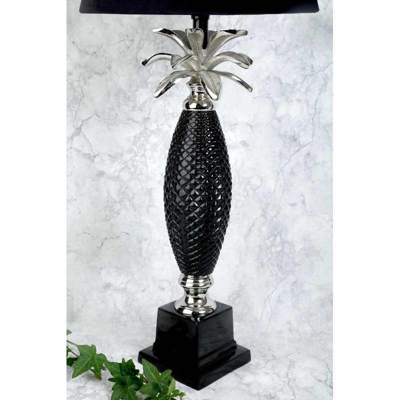 Lampfot ananas silver svart H60cm