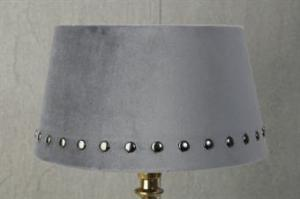 Lampskärm sammet med nitar rund grå