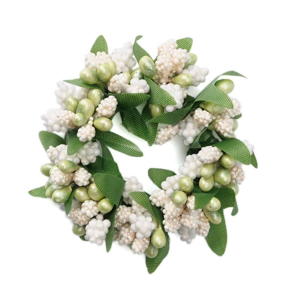 Ljusmanschett vit med gröna bär