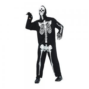 Maskeraddräkt Skelett vuxen med huva
