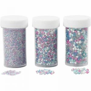Miniglaskulor mix färg 3burkar