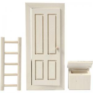 Nisse dörr, brevlåda och stege