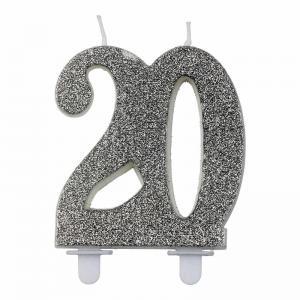 Nummerljus glitter Silver 18-60år