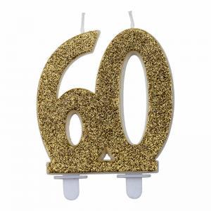 Nummerljus glitter Guld 18-60år