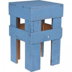 Pall trä Blå H40cm