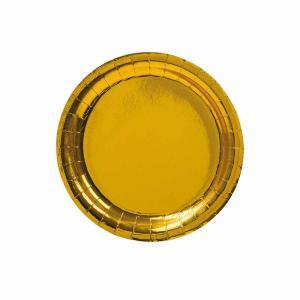 Papperstallrik assiett Guld D18,5cm 8pack