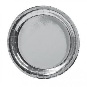 Papperstallrik Silver 23cm 8P
