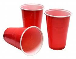 Plastmuggar röda öl 24-pack