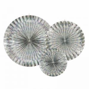 Solfjäder silvermetallick 3-pack