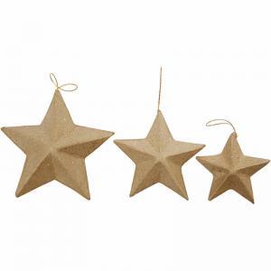 Stjärnor i papp 6pack 7,5+10+12,5cm