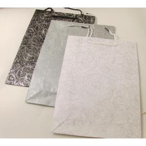 Presentpåse Stor Papper Svart / Silver / Vit