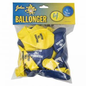 Ballonger Gul/Blå med text Student