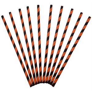 Sugrör i papper svarta och orange 24pack