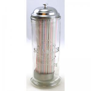 Sugrörsbehållare glas inkl sugrör
