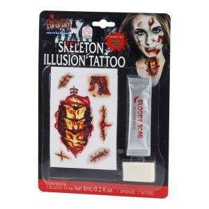 Tatuering skelett och blod