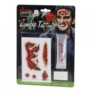 Tatuering zombie och blod