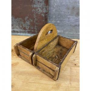 Tegelstensform dubbel låda med handtag