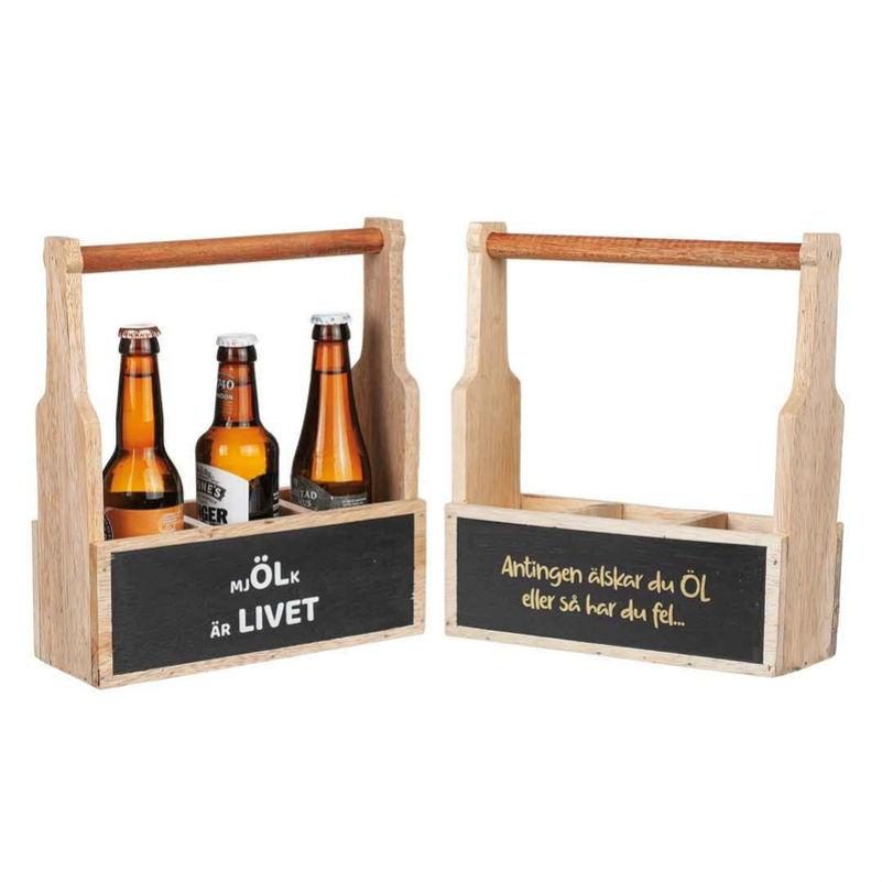 """Trälåda """"Öl"""" olika text"""